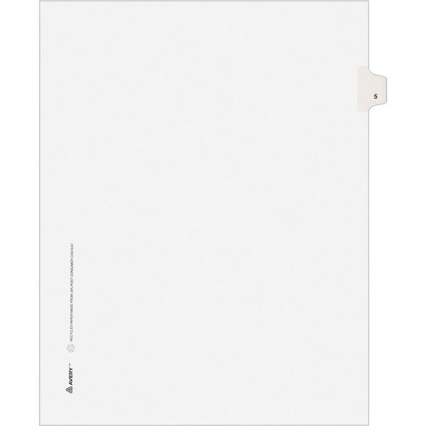 Avery-Style Legal Exhibit Side Tab Divider, Title: 5, Letter, White, 25/Pack