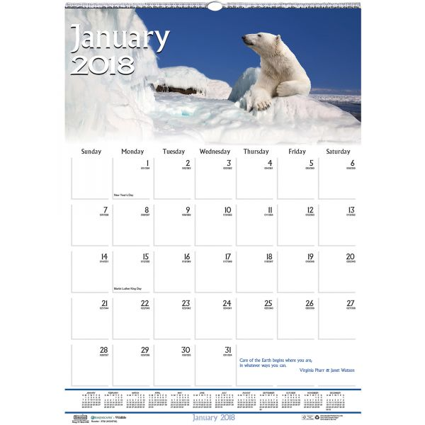 House of Doolittle Earthscapes Wildlife Monthly Wall Calendar