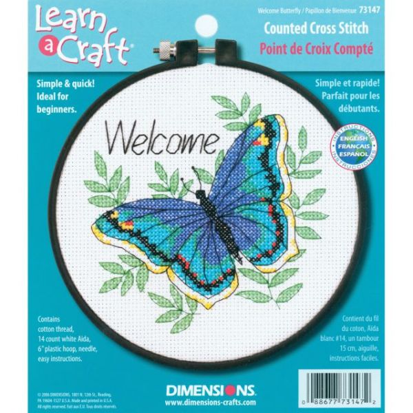 Learn-A-Craft Welcome Butterfly Counted Cross Stitch Kit