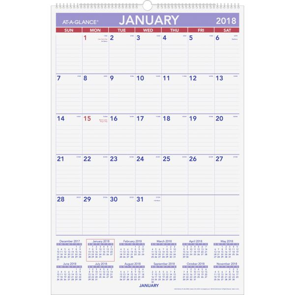 At-A-Glance Monthly Wall Calendar with Hanger