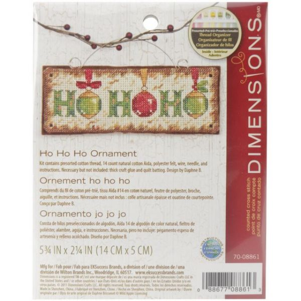 Dimensions Ho Ho Ho Ornament Counted Cross Stitch Kit