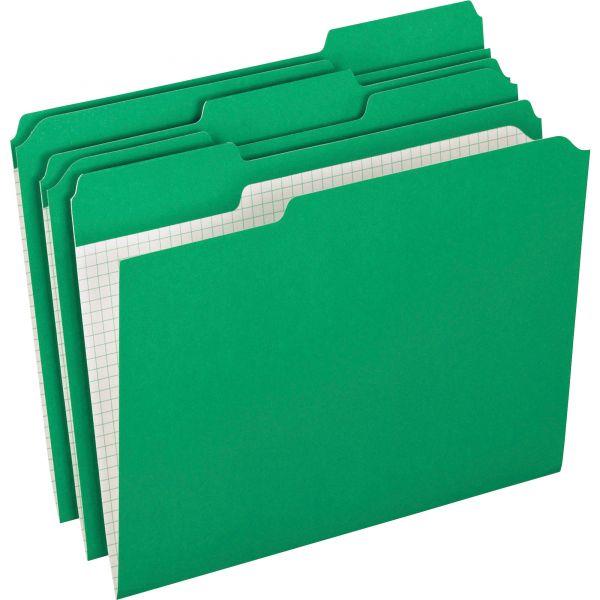 Pendaflex Reinforced Top Tab File Folders, 1/3 Cut, Letter, Green, 100/Box