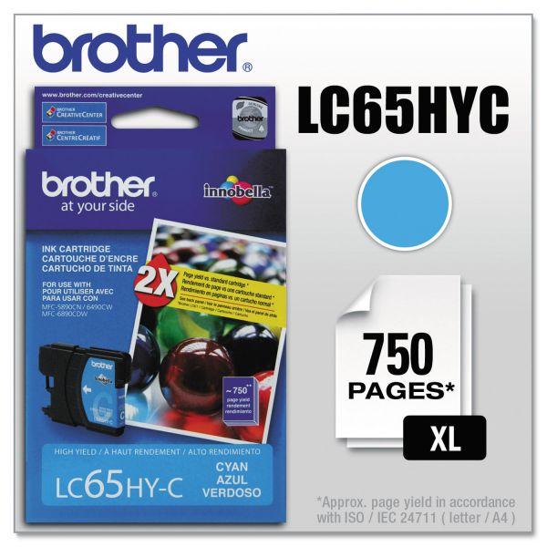 Brother LC65HYC Cyan High Yield Ink Cartridge