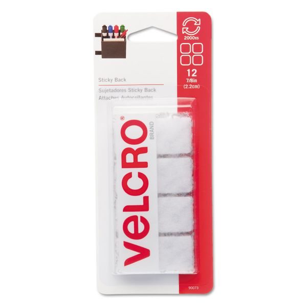 "Velcro Sticky-Back Hook & Loop Square Fasteners on Strips, 7/8"", White, 12 Sets/Pack"