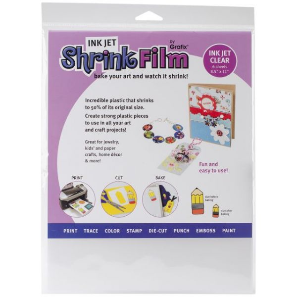 "Ink Jet Shrink Film 8.5""X11"" 6/Pkg"