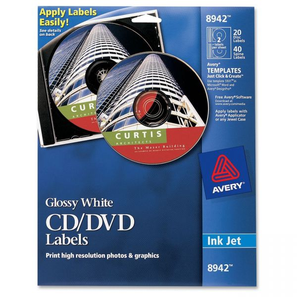 Avery Inkjet Glossy CD/DVD Labels