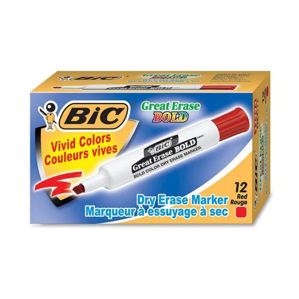 BIC Great Erase Bold Tank-Style Dry Erase Marker, Chisel Tip, Red, Dozen