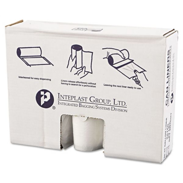 Inteplast Group High-Density Can Liner, 40 x 46, 45gal, 12mic, Clear, 25/Roll, 10 Rolls/Carton