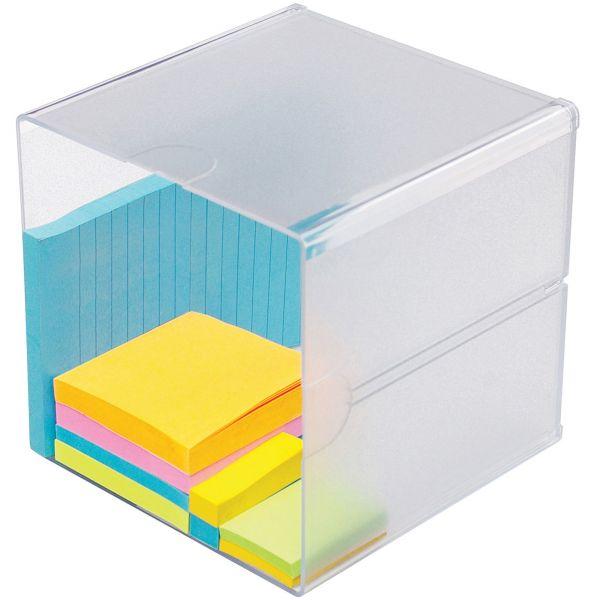 deflecto Desk Cube, Clear Plastic, 6 x 6 x 6