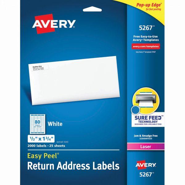 Avery Easy Peel Return Address Labels, Laser, 1/2 x 1 3/4, White, 2000/Pack