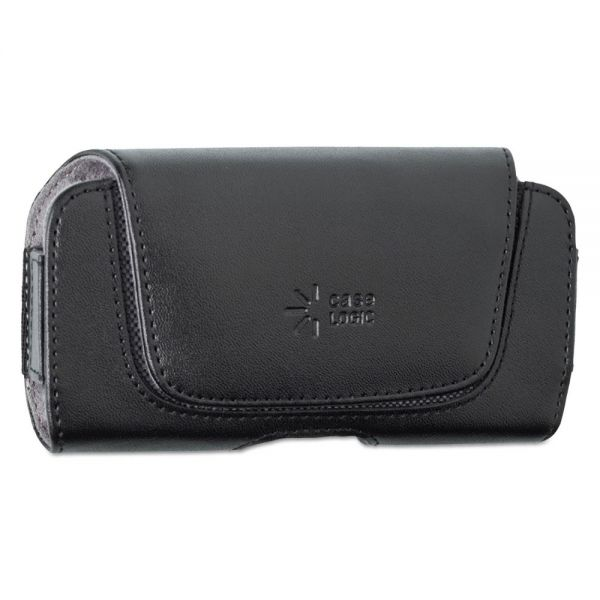 Case Logic Horizontal Pouch for Belt, Leather, Contoured Flap, Black