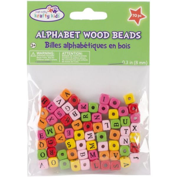 Craft Medley Krafty Kids Wood Alphabet Beads