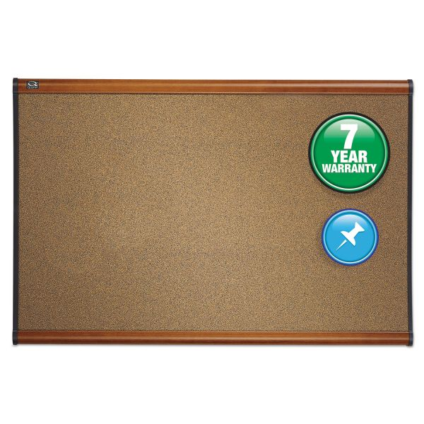 Quartet Prestige Bulletin Board, Brown Graphite-Blend Surface, 72 x 48, Cherry Frame