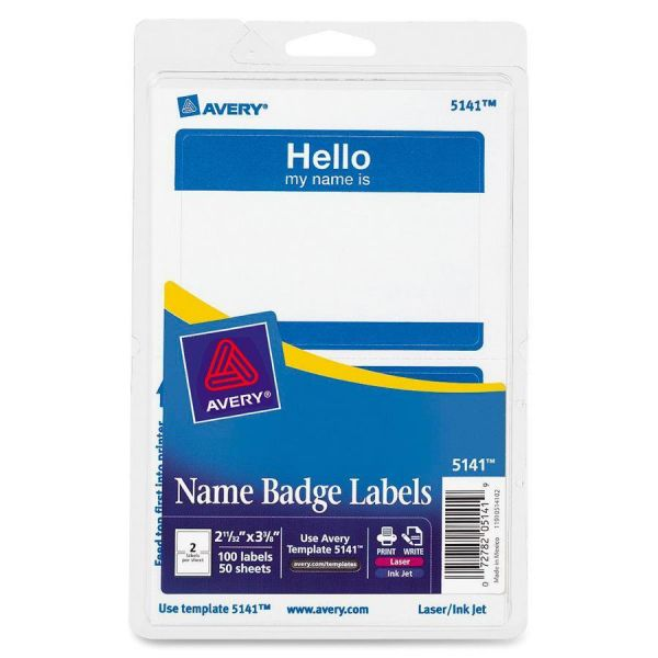 "Avery ""Hello my name is"" Adhesive Name Tags"