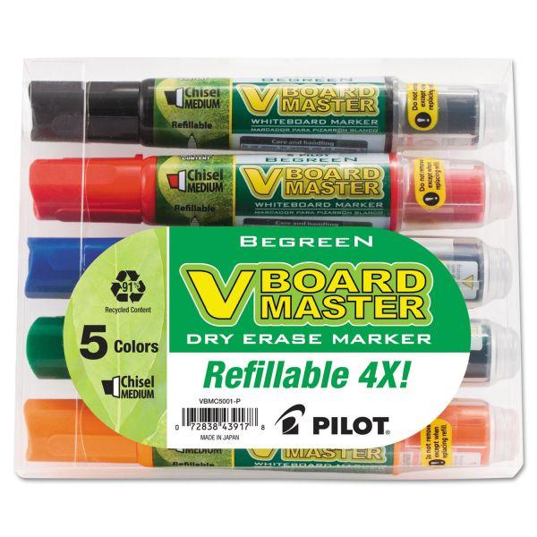 Pilot BeGreen Dry Erase Marker, Assorted, Chisel, 5/Pack