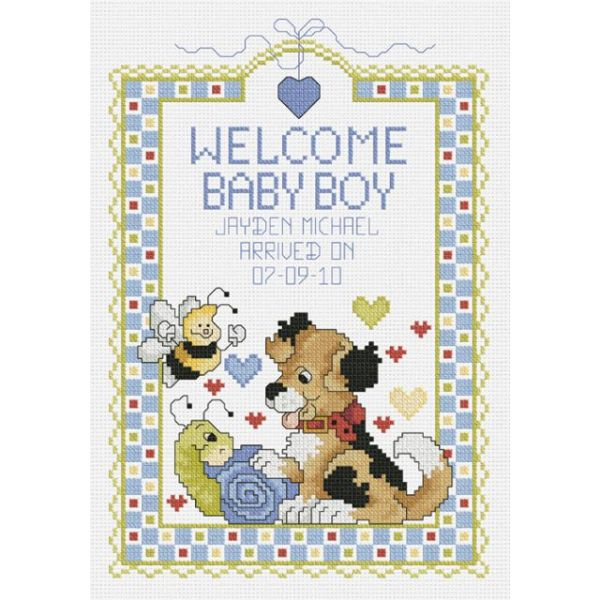 Welcome Baby Boy Sampler Counted Cross Stitch Kit