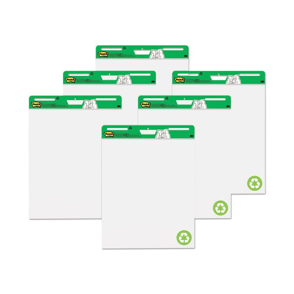 Post-it Easel Pads Self Stick Easel Pads, 25 x 30, White, Recycled, 6 30 Sheet Pads/Carton