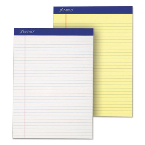 Ampad Perforated Writing Pad, 8 1/2 x 11 3/4, Canary, 50 Sheets, Dozen