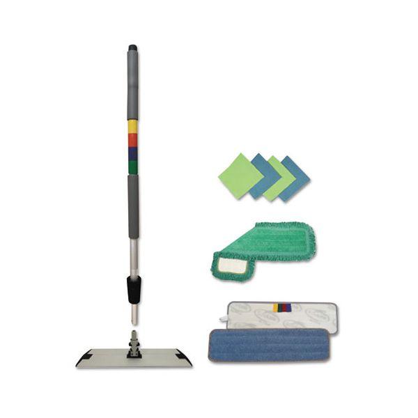 """Boardwalk Microfiber Mopping Kit, 18"""" Mop Head, 35-60""""Handle, Blue/Green/Gray"""
