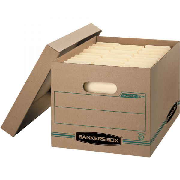 Bankers Box Recycled Stor/File Basic-Duty Storage Boxes With Lift-Off Lids