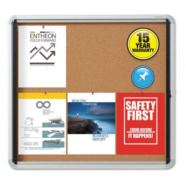 Quartet Enclosed Cork Bulletin Board w/Swing Door