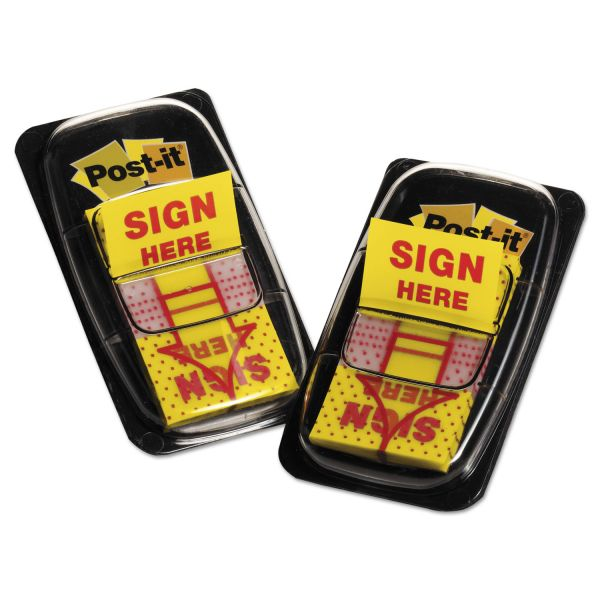 "Post-it Flags Arrow Message 1"" Page Flags, ""Sign Here"", Yellow, 2 50-Flag Dispensers/Pack"