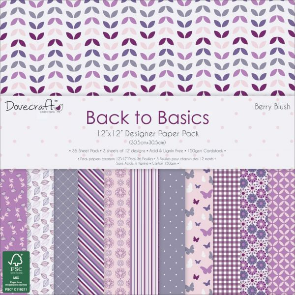 "Dovecraft Back To Basics Paper Pack 12""X12"" 36/Pkg"
