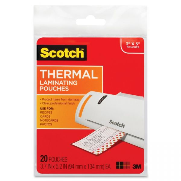 Scotch Thermal Index Card Laminating Pouches