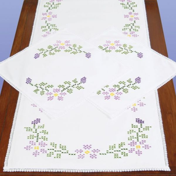 Dresser Scarf & Doilies Lace Edge Stamped Cross Stitch