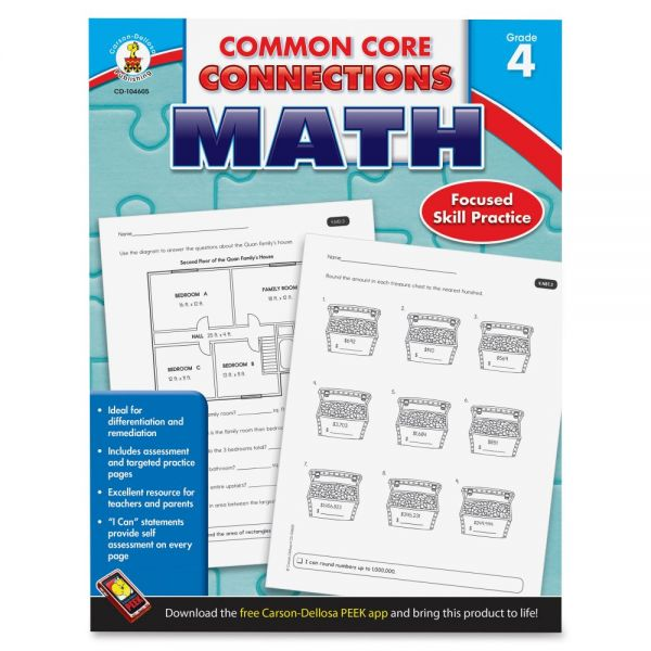 Carson-Dellosa Common Core Connections Gr 4 Math Workbook Education Printed Book for Mathematics