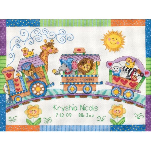 Dimensions Baby Hugs Baby Express Birth Record Counted Cross Stitch Kit