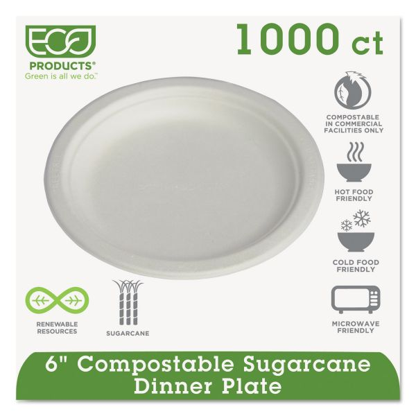 "Eco-Products Compostable 6"" Sugarcane Plates"
