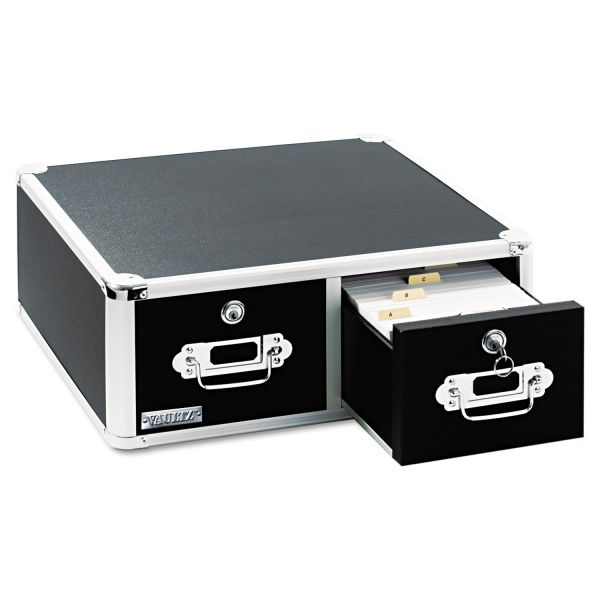 IdeaStream Vaultz Locking 8 x 5 Two-Drawer Index Card Box, 3,000-Card Capacity, Black