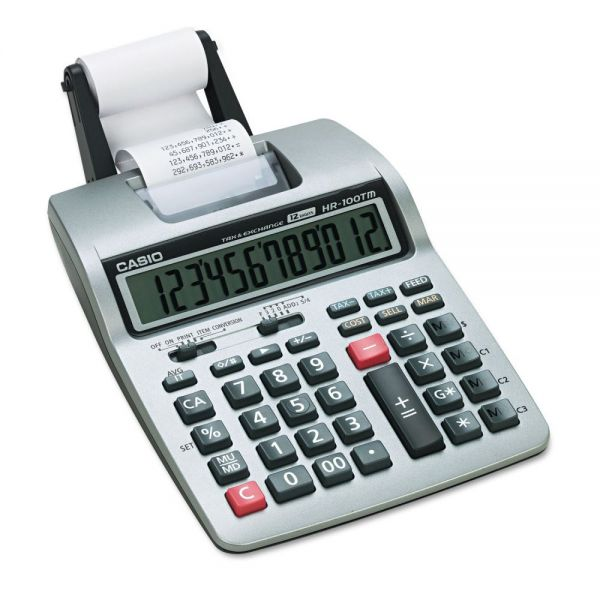Casio HR-100TM Portable Black & Red Printing Calculator