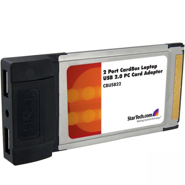 StarTech.com 2 Port CardBus Laptop USB 2.0 PC Card Adapter