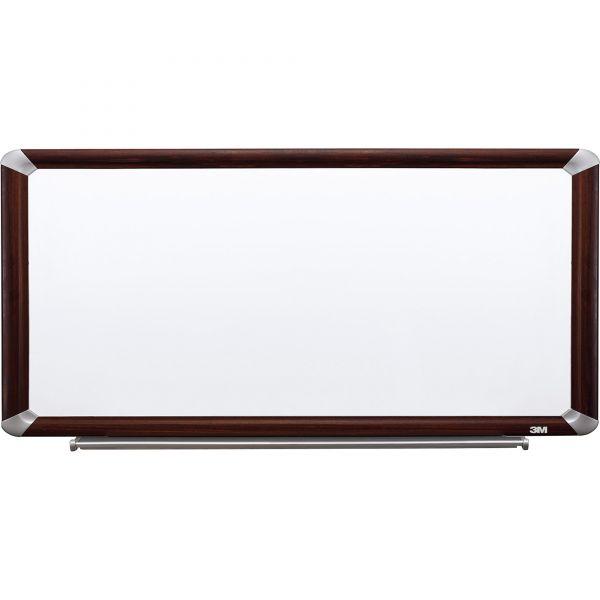 3M Porcelain Dry Erase Board, 96 x 48, Mahogany Finish Frame