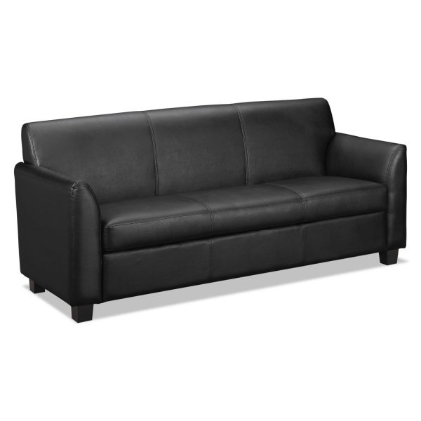 basyx VL870 Series Leather Reception Three-Cushion Sofa, 73w x 28 3/4d x 32h, Black