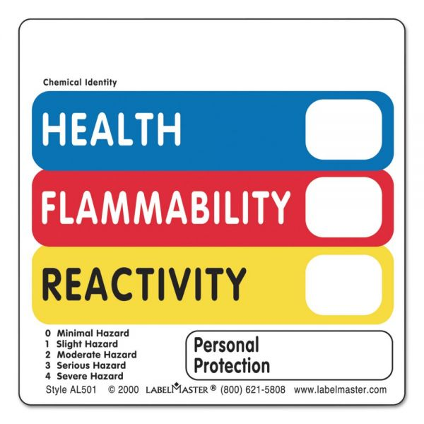 LabelMaster Warehouse Labels, 4 1/2 x 2 7/8, HEALTH, FLAMMABILITY, REACTIVITY, 500/Roll