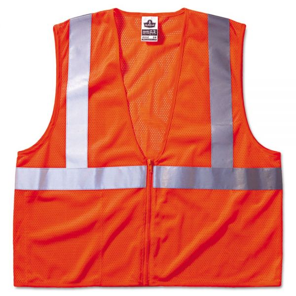 ergodyne GloWear 8210Z Class 2 Economy Vest, Polyester Mesh, Zipper Closure, Orange, L/XL