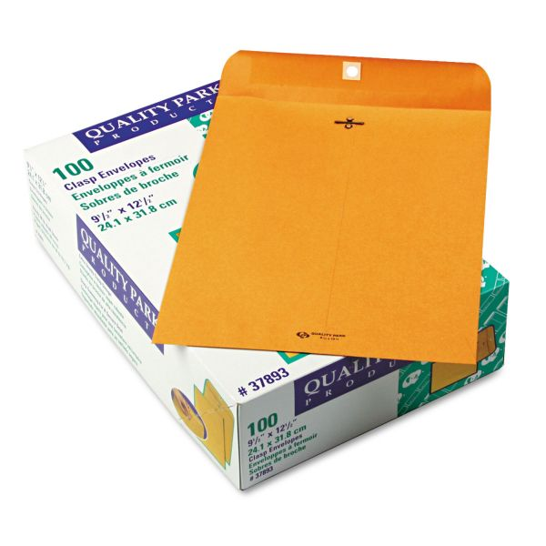 "Quality Park Gummed 9 1/2"" x 12 1/2"" Clasp Envelopes"