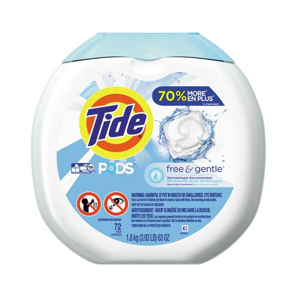 Tide Free & Gentle Laundry Detergent, Pods, 72/Pack, 4/Carton