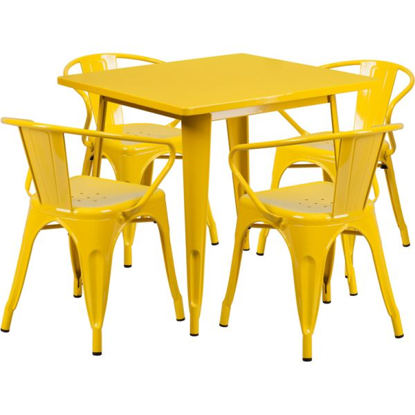 Flash Furniture 31.5'' Square Yellow Metal Indoor-Outdoor Table Set with 4 Arm Chairs