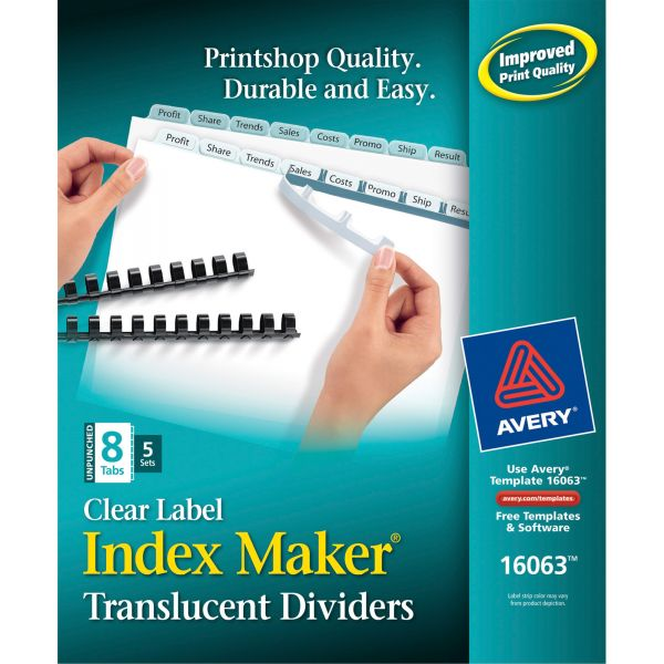 Avery Print & Apply Clear Label Unpunched Dividers, 8-Tab, White Tab, Letter, 5 Sets