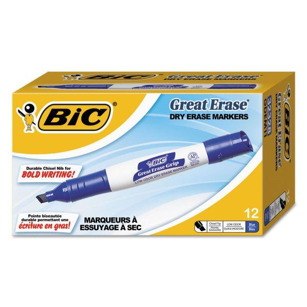 BIC Great Erase Grip Chisel Tip Dry Erase Marker, Blue, Dozen