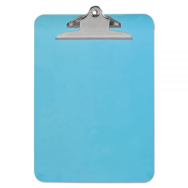 """Universal Plastic Clipboard with High Capacity Clip, 1"""" Capacity, Holds 8 1/2 x 12, Blue"""