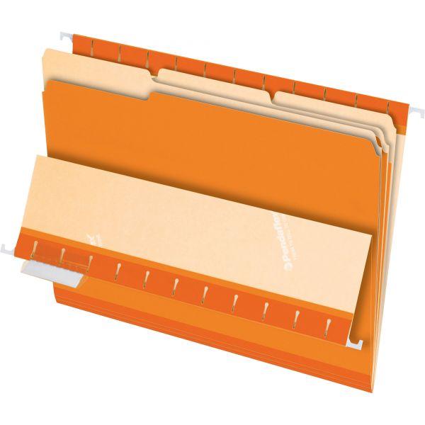 Pendaflex Interior File Folders, 1/3 Cut Top Tab, Letter, Orange, 100/Box