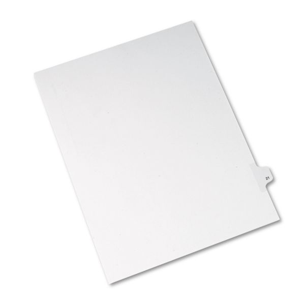 Avery Allstate-Style Legal Exhibit Side Tab Divider, Title: 21, Letter, White, 25/Pack