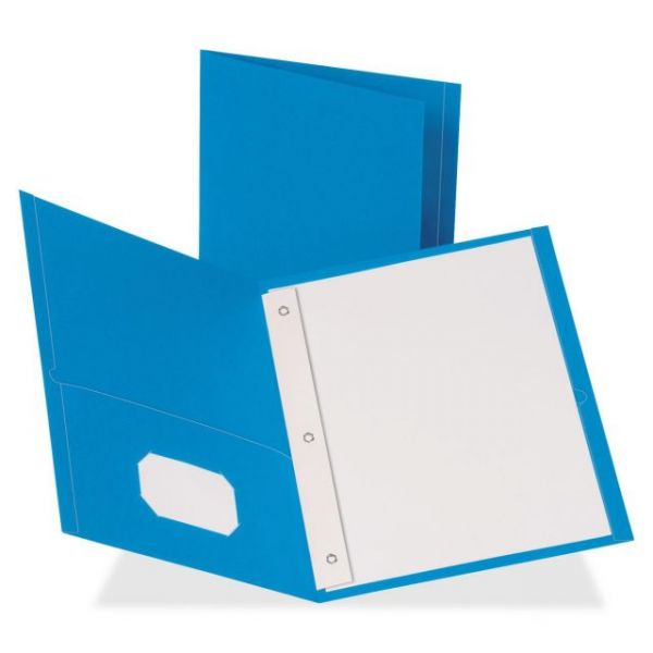 Business Source Light Blue Two Pocket Folders with Fasteners