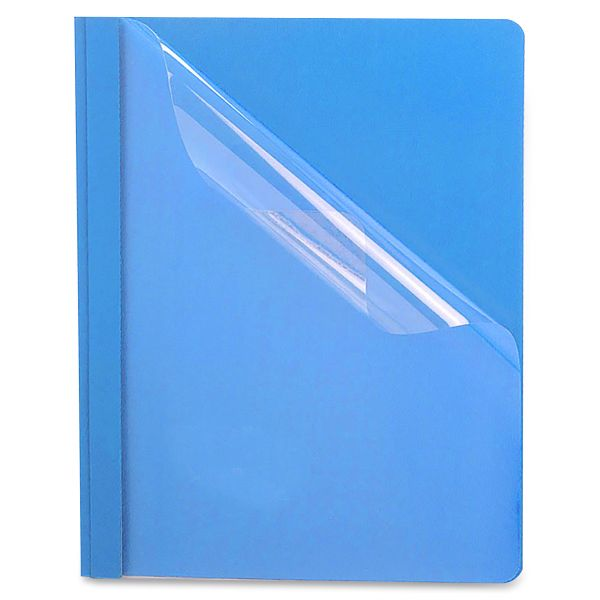 Oxford Premium Paper Clear Front Cover, 3 Fasteners, Letter, Light Blue, 25/Box