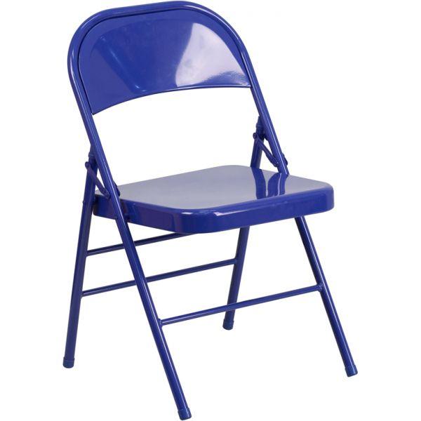 Flash Furniture HERCULES COLORBURST Series Cobalt Blue Triple Braced & Double Hinged Metal Folding Chair
